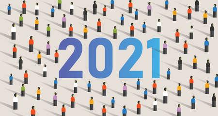 crowd gathering together for 2021 unity in diversity spirit Çizim