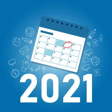 marking calendar for 2021 target event new year realization special date Çizim