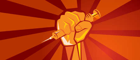 covid-19 vaccination poster hand holding vaccine syringe symbol of fighting pandemic red background design