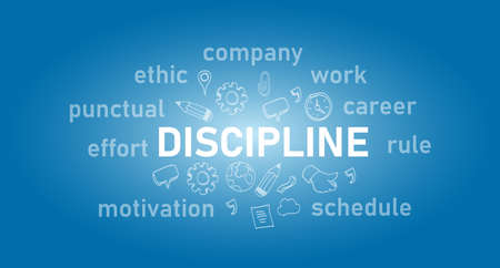 discipline text concept of work ethic text in blue Çizim