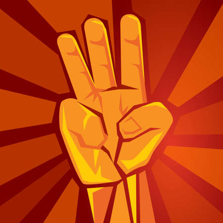 three finger hand showing raised supporting movement symbol of retro socialism poster vector illustration in red background