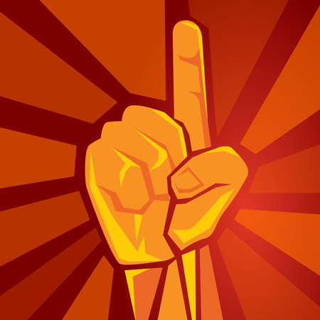 one single finger hand showing raised supporting movement symbol of winner retro socialism poster vector illustration in red background 向量圖像