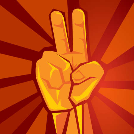 two finger hand showing raised supporting movement symbol of peace retro socialism poster vector illustration in red background 向量圖像