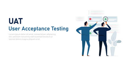 UAT user acceptance testing process in system development by businessman looking check mark list