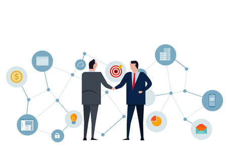 handshake businessman two leader making deals corporate partnership network cooperation and communication