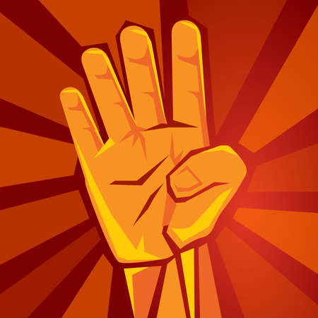 hand shows four finger with red background symbol of strength political number 4