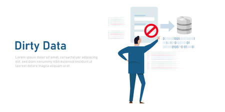dirty data input into database restriction on input entry inaccurate information into the system to avoid error garbage Vettoriali