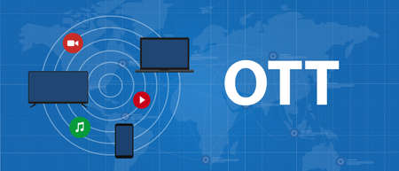 OTT over the top media distribution movie and music using television phone laptop Vettoriali