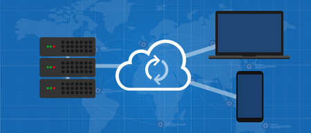 sync across device via cloud technology between server laptop and smartphone online backup Vettoriali