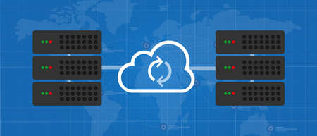 sync server data mirroring global synchronization concept in cloud technology