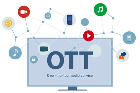 OTT over the top media distribution movie and music using television big screen phone laptop