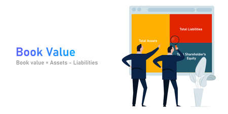 Book value assets and liabilities of a company analysis corporation accounting Vettoriali