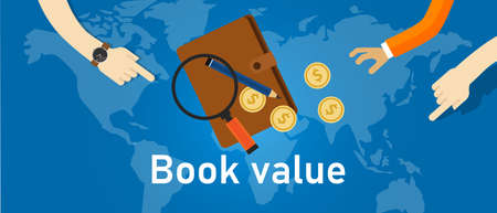 Book value assets and liabilities of a company analysis corporation accounting book and coin money