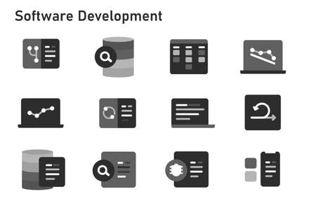 agile methodology software development icon set collection of code programming using sprint kanban board and burn down chart black version Vettoriali