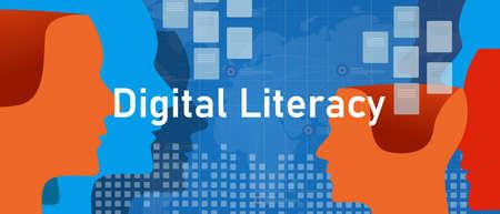 digital literacy people understanding learning technology digital era education Vettoriali