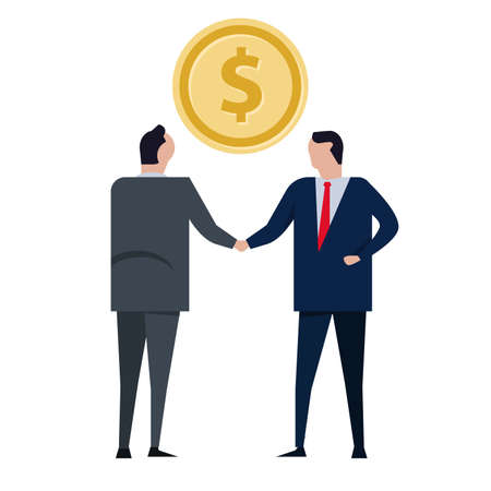 transaction deal handshake coin success two businessman making money Vettoriali