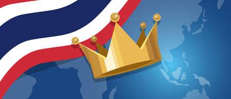 Thailand king monarchy crown royal kingdom flag and map