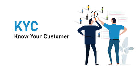 KYC know your customer concept of profiling information identity about consumer of our business Vettoriali