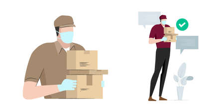 safe delivery man bring package box carton wearing mask and glove to prevent virussafety protection services