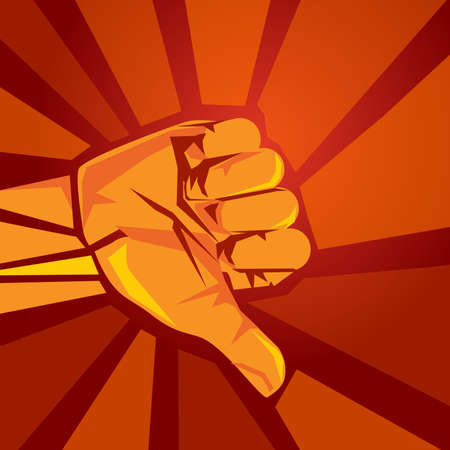thumbs down dislike disagreement symbol sign using hand gesture in red retro vintage background