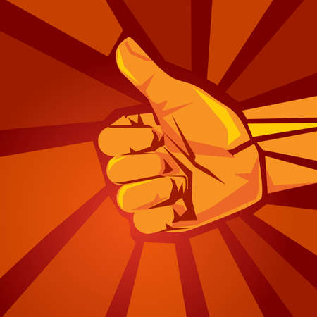 like thumbs up hand sign symbol of yes agree positive confirmation and support in red retro background Vettoriali