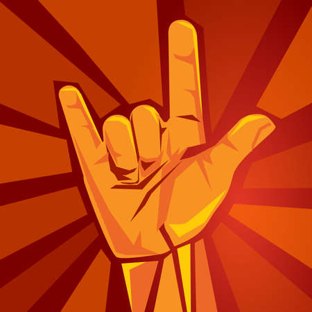 Rock and roll or Heavy Metal hand sign horns party hard symbol red retro rocker band gesture
