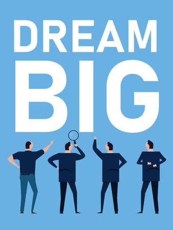 dream big motivational quotes for business to think and plan set target achievement Vettoriali