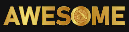 awesome text gold color with thumbs up medal appreciation