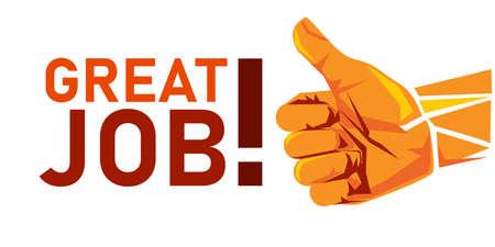 great job thumbs up appreciation gesture illustration achievement congratulations symbol