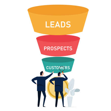 optimize sales funnel businessman analyze improve business conversion marketing from leads to prospects to customers maximize profit