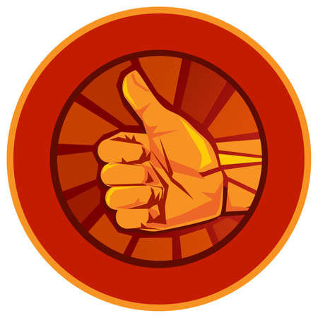 thumbs up red medal emblem symbol of ok agree correct best of the best top seal certificate badge award