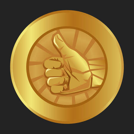 thumbs up gold medal emblem symbol of ok agree correct best of the best seal certificate badge award