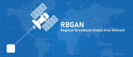 BGAN Regional broadband global area network line of sight internet connection with satellite Vettoriali