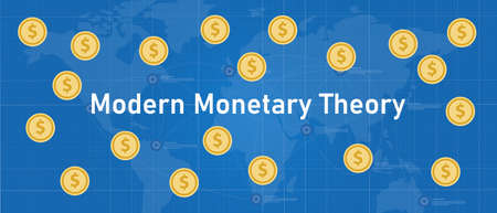 Modern monetary theory concept of printing money without risk of inflation economics dollar global business Vettoriali