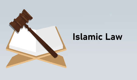 sharia law Islamic muslem legal legislation regulation concept hammer and book Vettoriali