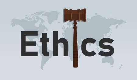 ethics and law symbol of ethical moral in decision making hammer symbol Vettoriali