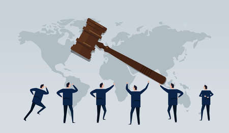 business law international businessman looking for justice regulation hammer and map