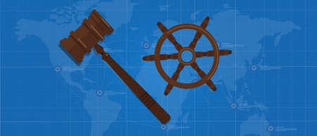law of sea international agreement regulation symbol of boat steering wheel and gavel hammer