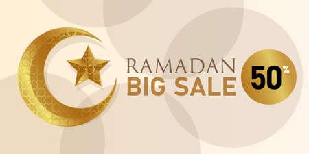 Ramadan big sale banner crescent moon discount promo festival Vettoriali