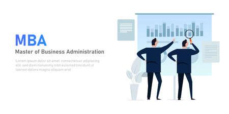 MBA master of business administration program businessman presentation Vettoriali