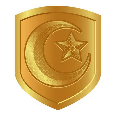 crescent moon star logo symbol in golden shield symbol of strength Islam