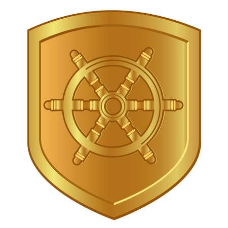 boat steering wheel symbol in golden shield logo of marine ship nautical navigation company