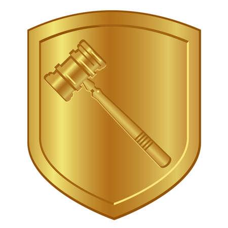gold hammer symbol logo in golden shield lawyer or auction gavel Vettoriali