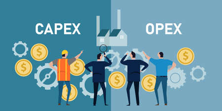 capex opex capital expenditure operation expenses gear coin finace operation by businessman Vektorgrafik