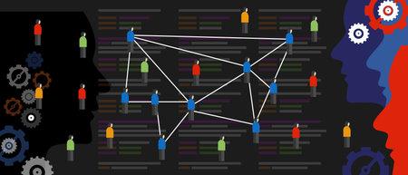 algorithm bias code create echo chamber filter bubble connecting people with same similar ideas in crowd online Ilustración de vector