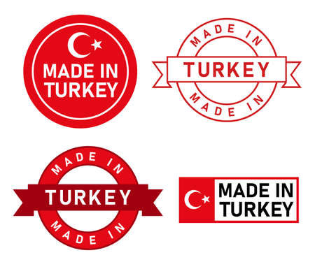 Made in Turkey stamp label graphic template set of product manufactured in country with flag sticker Vector Illustration