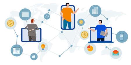 gig freelance economy working across the world expertise get job earning money worldwide using online technology communication Vecteurs