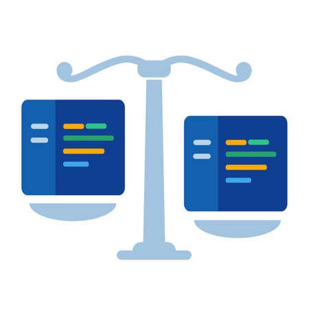 algorithm making decision thinking analyzing consider make judgement concept of code in law Vektorgrafik