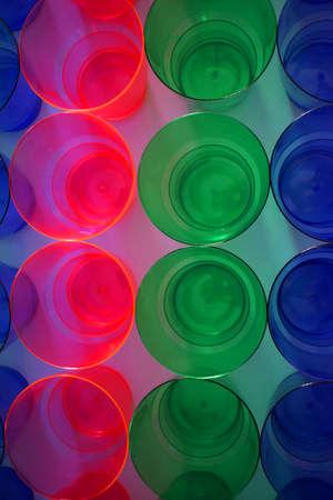 Multi-colored plastic cups, close-up