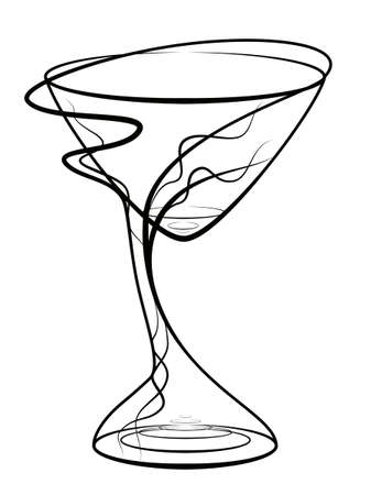 Graphic drawing of a glass for wine photo